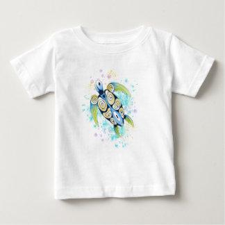 Camiseta Para Bebê Respingo da aguarela da tartaruga de mar