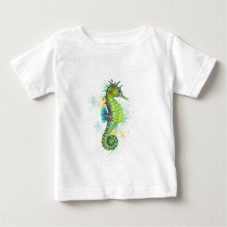 Camiseta Para Bebê Respingo do cavalo marinho do verde amarelo