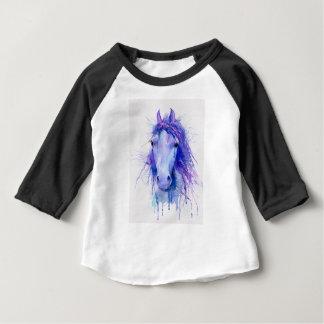 Camiseta Para Bebê Retrato abstrato do cavalo da aguarela