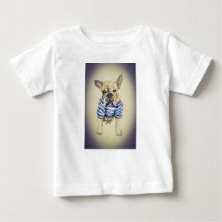 Camiseta Para Bebê Retrato do buldogue no embaçamento roxo