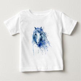 Camiseta Para Bebê Retrato do cavalo da aguarela com splatter da