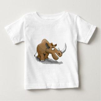Camiseta Para Bebê rinoceronte marrom dos desenhos animados com um
