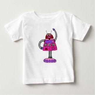 Camiseta Para Bebê Robô de Frankie: Rosa no branco