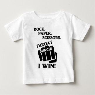 Camiseta Para Bebê Rocha, papel, tesouras, perfurador da garganta! Eu