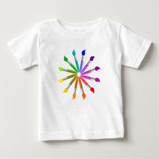 Camiseta Para Bebê Roda de cor da escova de pintura, teoria da cor do