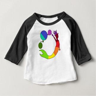 Camiseta Para Bebê Roda de cor da sereia