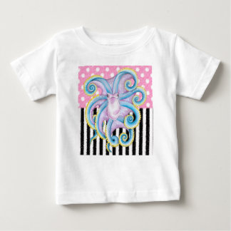 Camiseta Para Bebê Rosa artística do polvo