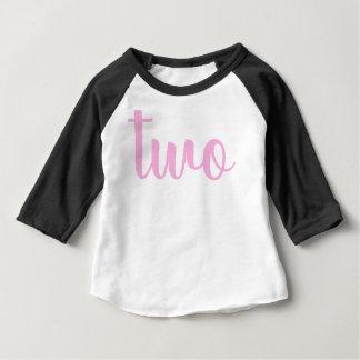 Camiseta Para Bebê Rosa da criança do segundo aniversário dois