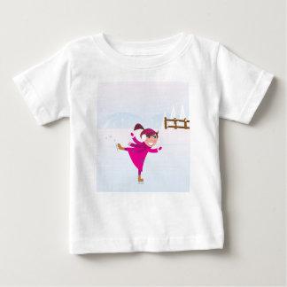 Camiseta Para Bebê Rosa do miúdo do patinagem no gelo