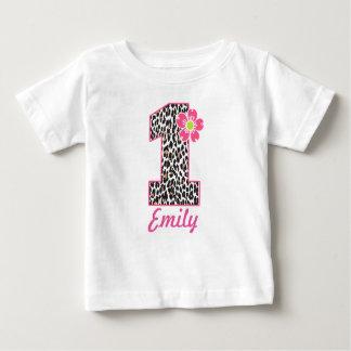 Camiseta Para Bebê Rosa quente da menina do primeiro aniversario &