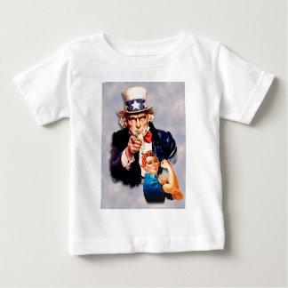 Camiseta Para Bebê Rosie o design do rebitador & do tio Sam