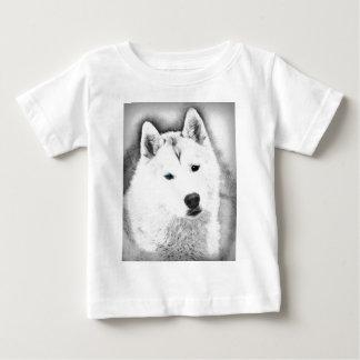 Camiseta Para Bebê Rouco Siberian branco com esboço das belas artes