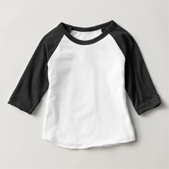 Camiseta com Mangas 3/4 Raglan para Bebês, American Apparel, Preto