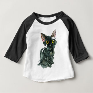 Camiseta Para Bebê Roupa americano do gato preto 3/4 de t-shirt da