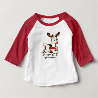 Camiseta Para Bebê Rudolph o lama com o nariz vermelho