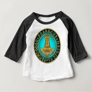 Camiseta Para Bebê Runes - martelo dos Thors - cerceta