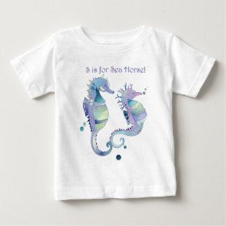 Camiseta Para Bebê S é para o bebê bonito do cavalo de mar