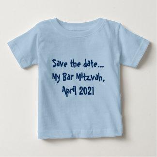 Camiseta Para Bebê Salvar a data… Meu bar Mitzvah, em abril de 2021