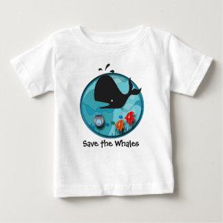 Camiseta Para Bebê Salvar as baleias