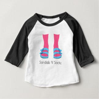 Camiseta Para Bebê Sandalz azul/cor-de-rosa N Sockz