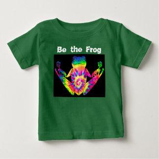 Camiseta Para Bebê Sapo do zen da tintura do laço