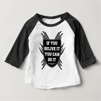 Camiseta Para Bebê Se você belive ele você pode o fazer