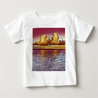 Camiseta Para Bebê Seascape artístico bonito do ouro do rosa da