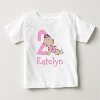 Camiseta Para Bebê Segundo aniversário cor-de-rosa bonito