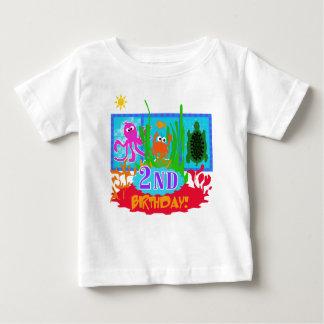 Camiseta Para Bebê Segundo aniversário submarino da aventura