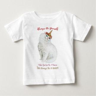 Camiseta Para Bebê Seja você mesmo gato do unicórnio
