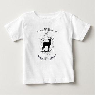 Camiseta Para Bebê Selvagem e livre, impressão dos cervos