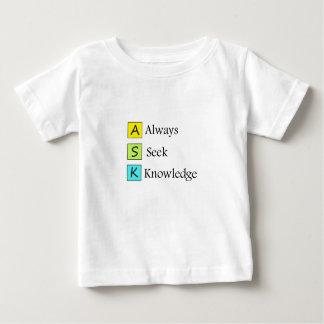 Camiseta Para Bebê sempre um conhecimento da busca k de s