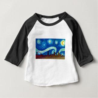 Camiseta Para Bebê Silhueta da skyline de Austin com noite estrelado