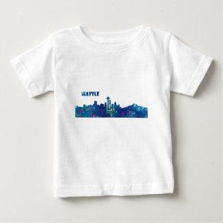 Camiseta Para Bebê Silhueta da skyline de Seattle