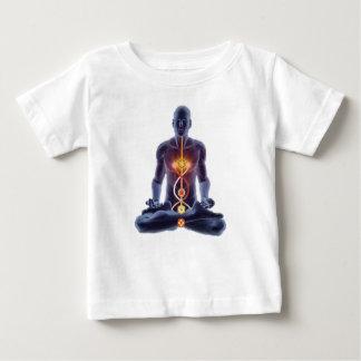 Camiseta Para Bebê Silhueta do homem na pose iluminada da meditação