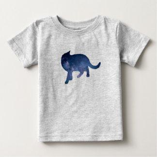 Camiseta Para Bebê Silhueta estrelado do gato da galáxia do céu,