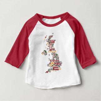 Camiseta Para Bebê Símbolos do mapa de Inglaterra
