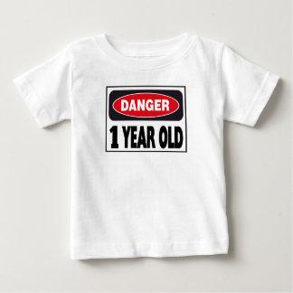 Camiseta Para Bebê Sinal de 1 ano do perigo