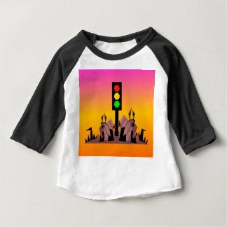 Camiseta Para Bebê Sinal de trânsito com coelhos, fundo sonhador