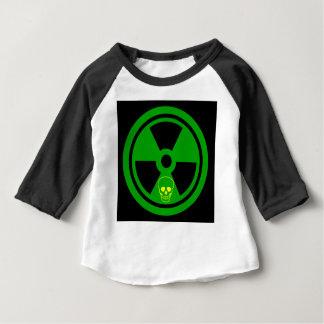 Camiseta Para Bebê Sinal radioativo do cuidado com crânio