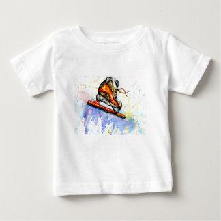Camiseta Para Bebê Skate de gelo da aguarela