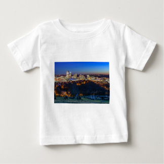 Camiseta Para Bebê Skyline de Pittsburgh no por do sol