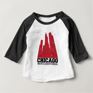 Camiseta Para Bebê Skyline vermelha da cidade de Chicago, Illinois |