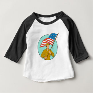 Camiseta Para Bebê Soldado americano que acena o desenho do círculo