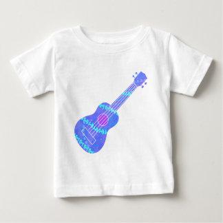 Camiseta Para Bebê Spatter azul da pintura do Ukulele