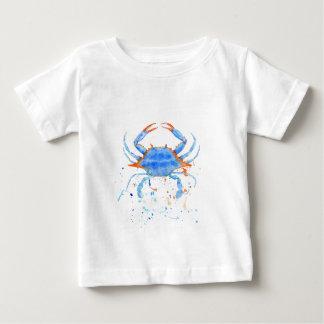 Camiseta Para Bebê Splatter da pintura do caranguejo azul da aguarela