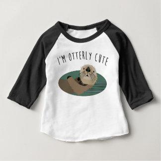 Camiseta Para Bebê T bonito do bebê da lontra