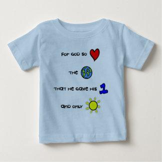 Camiseta Para Bebê T cristão do bebê - para o deus amou assim o mundo