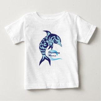 Camiseta Para Bebê T do golfinho das ondas de quebra