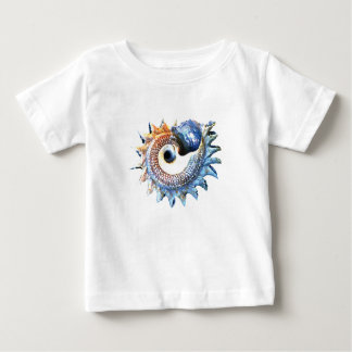 Camiseta Para Bebê T espiral dourado da ioga do Seashell da mandala